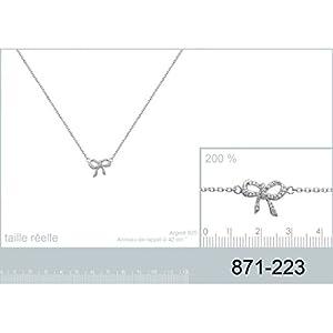 Collier en Argent 925/000 et Oxyde de Zirconium - Chaîne avec Pendentif Fixe : Noeud Papillon avec Strass, Brillants Blanc - Bijoux Femme