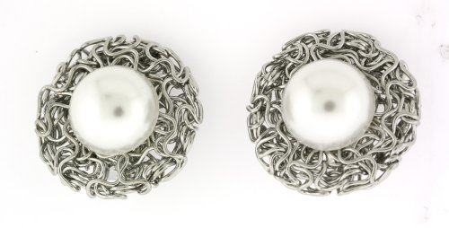 Silver-toned Lustered White Pearl Clip-On Earrings