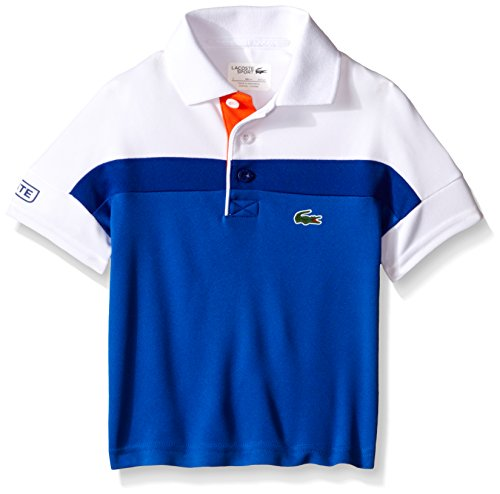 Lacoste Little Boys Sport Short Sleeve Color Blocked Ultra Dry Polo Shirt, Victorian/Royal Blue/White/Buoy, 4