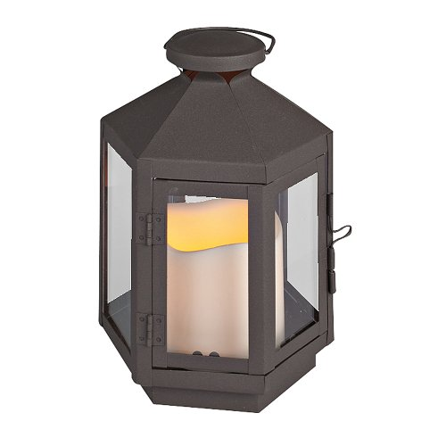 Everlasting Glow Hexagonal Metal Lantern With Plexi Glass And LED Candle