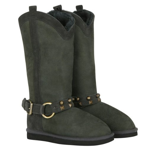 Love From Australia Western Long Charcoal Sheepskin Boots (10)
