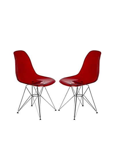 LeisureMod Set of 2 Cresco Molded Eiffel Side Chairs, Transparent Red