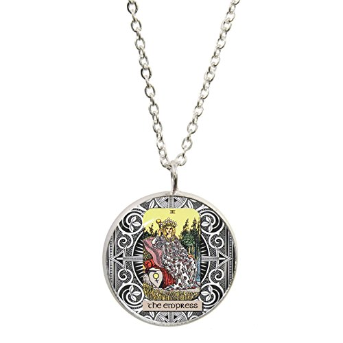 the-empress-tarot-card-pendant-and-silver-plated-necklace-set