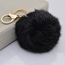 buy 18 K Gold Plated Keychain With Plush Cute Genuine Rabbit Fur Key Chain For Car Key Ring Or Bags 0025 (Black)