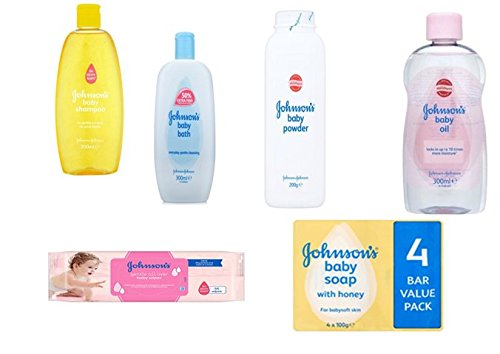 johnsons-baby-care-set-6-pieces-includes-baby-shampoo-baby-oil-baby-powder-baby-bath-56-baby-wipes-p