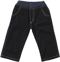 Charlie Rocket Baby Boys\' Rib Waist Denim Pants (Baby) - Navy - 3-6 Months
