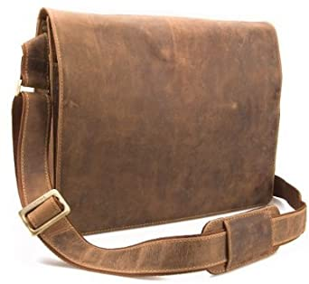 Visconti Leather Distressed Messenger Bag