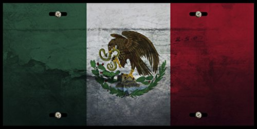Mexico Flag Dirty Grey Grunge Pattern Car Tag License Plate Frame (Dirty License Plate Frame compare prices)