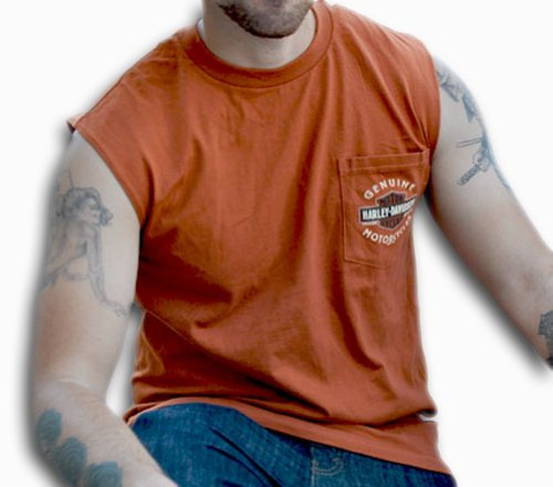 Harley-Davidson Mens Long B&S Pocket Texas Orange Sleeveless Muscle T-Shirt (Large)