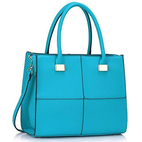 TrendStar alle donne sacchetti a tracolla signore borsa a mano in ecopelle celebrità della moda di stile, Sarcelle 2 (Turchese) - TSKC00153M-TEAL