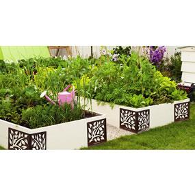 4 decorative plant-bed corners made of powder-coated steel