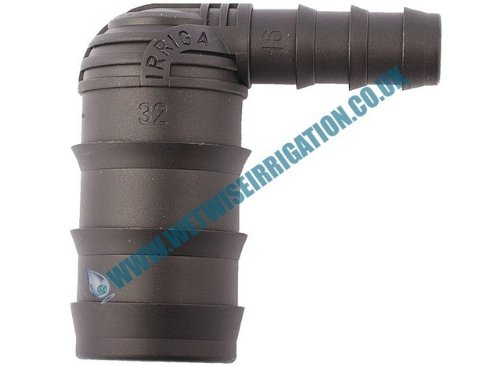 Pipe Fitting - 32mm - 16mm Barbed Reducing Elbow Connector (2 pack), Irrigation Pond Feature