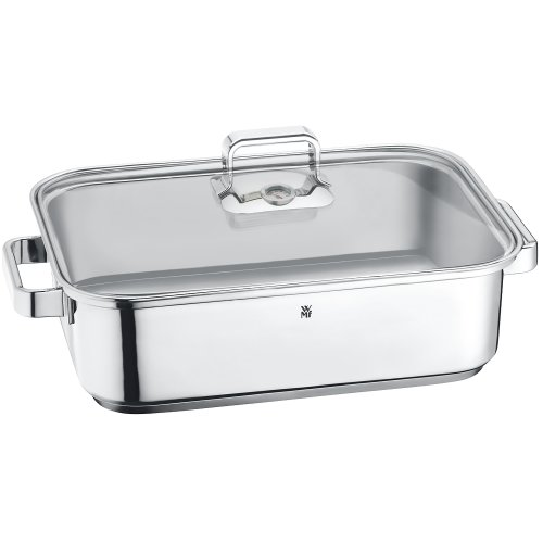 WMF Vitalis Covered Roasting Pan with Lid and Thermometer, 18/10 Stainless Steel, 6.5 L
