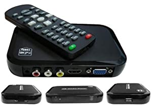 Portable Full 1080P HD Multi Media Player 3 outputs HDMI, VGA, AV, 2 inputs SD Card & USB reader for HDDs or Pen Drives, Digital Auto-play & Loop-Play by Digi-fun®