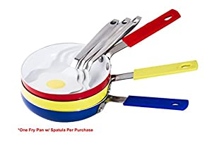 "5.5"" Non-Stick Ceramic Mini One Egg Frying Pan with a Bonus Spatula (Assorted Colors)"