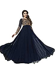 Jenny Fashion Blue Faux Georgette Semi Stitched Dress Material