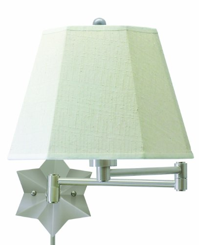 House Of Troy Ws751-As 15-Inch Swing-Arm Star Wall Lamp Antique Silver With White Linen Hardback Shade