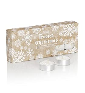 20 Frosted Christmas Glitter Scented Tealights