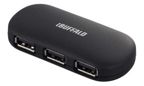 iBUFFALO [Wii U,PS3,torne動作確認済](ACアダプタ付)USB2.0ハブ 4ポートタイプ 【電源連動タイプ】 ブラック BSH4AE06BK