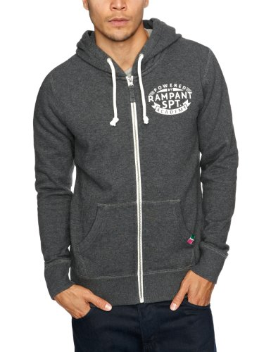 Rampant Sporting Zip Through Men's Hoodie Charcoal Marl SmallSmallRampant Sporting Zip Through Men's Hoodie Charcoal Marl SmallRampant Sporting Zip Through Men's Hoodie