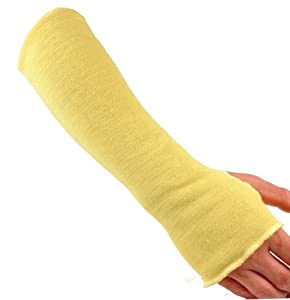 G & F Kevlar 18-Inch Knit Sleeve with Thumb Slot, Yellow, 6-Pack