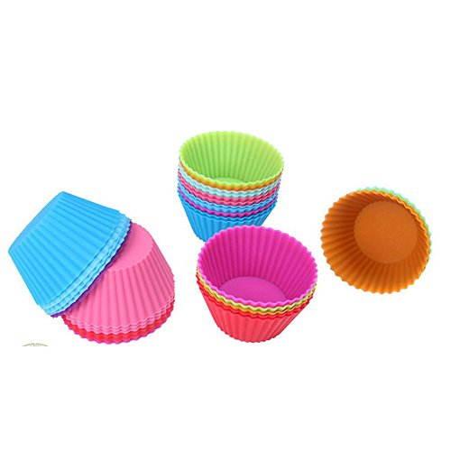 20 pcs Muffin Cupcake Mould Round Shape Silicone Bakeware Maker Mold Colored