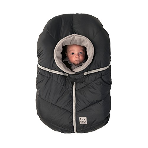 7AM Enfant Car Seat Cocoon: Infant Car Seat Cover Micro-Fleece Lined with an Elasticized Base, Black