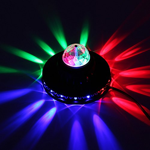 TORCHSTAR 8W Rotating Magic Ball Stage Light Lamp, RGB Multi-Color Changing LED Disco Light, 2-In-1 for Dance, DJ, Disco, KTV, Ballroom, Stage, Club, Pub, Wedding, Show, Xmas or Family Party