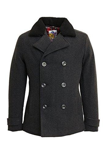 Harrington Herren Mantel Pcoat, Grau-Gris (Chevron), XX-Large