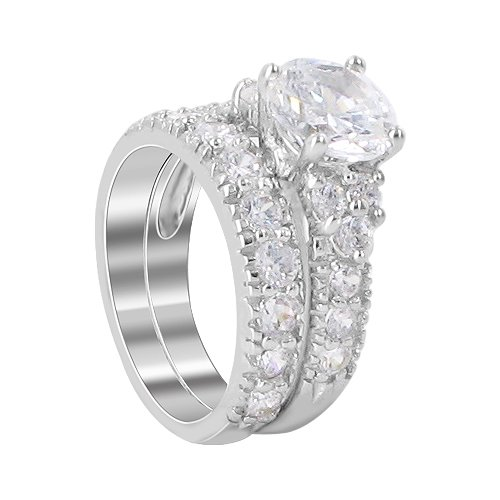 Sterling Silver 8mm Round Shaped Clear Cubic Zirconia 3mm Band Engagement Ring Size 6