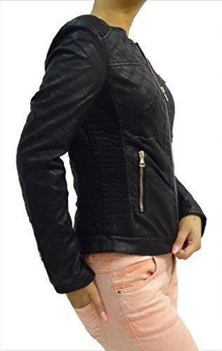 Women's New Stylish Zip UP PU Leather Quilted Biker Jacket (Black Only) zip up panel faux leather biker jacket