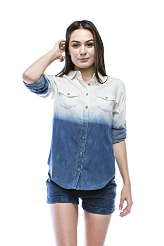 Women 39 s ombre chambray button down shirt small deep blue for Cuisine you chambray
