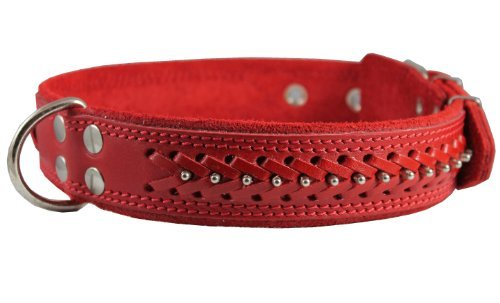 High Quality Genuine Leather Braided Studded Dog Collar, Red 1.6 Wide. Fits 19-24 Neck Size, German Shepherd, Akita by Dogs My Love