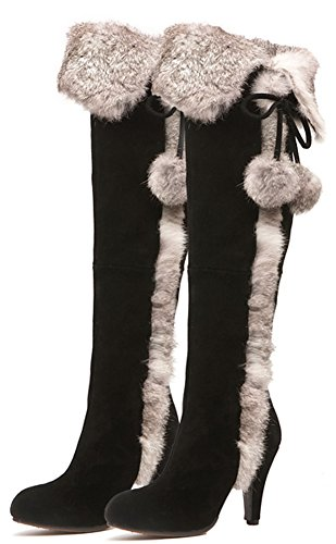 APHNUS Womens Boots Genuine Cow Leather Suede Rabbit Fur Over Knee Boots