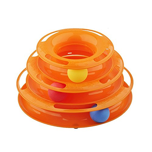 Interactive Cat Toys Three Levers Tower of Tracks Pet Ball Toys Crazy Amusement Plate for One or More Cats (Orange) (Super Spiral Play Tower compare prices)