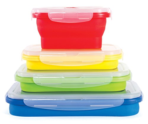 Thin Bins Collapsible Silicone Food Containers - Set of 4 (Collapsible Storage Containers compare prices)