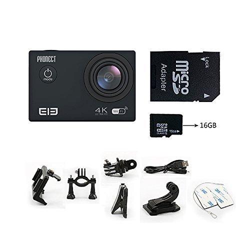 PHONECT ELE Explorer WIFI Waterproof Action Sport Camera 170 Degree Wide Angle Lens 1050mAh Aliwinner V3 2.0 Inch TFT LCD 4K 16MP-Black
