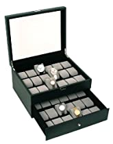 Classic Black Glass Top Watch Box Display Case with High Clearance for Larger Watches Holds 36 Watches