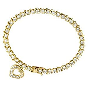 18k Gold over Silver Classic CZ Tennis Bracelet Heart Charm
