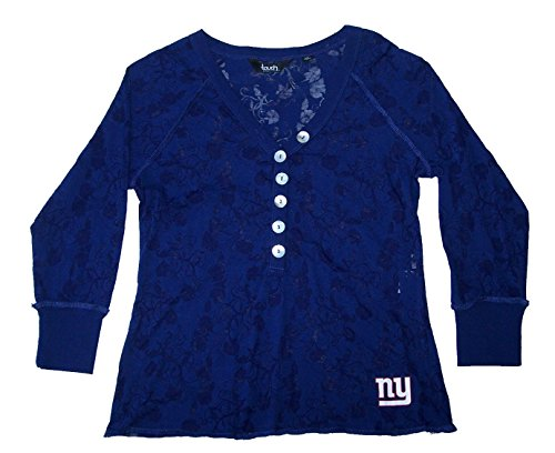 Women's New York Giants Touch by Alyssa Milano Blue Coop 2 V-Neck Burnout T-Shirt