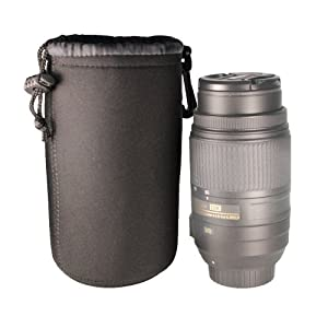 FotoTech DSLR camera Drawstring Soft Neoprene Lens Pouch Bag Cover for Canon Nikon Sony Panasonic Fujifilm Olympus Pentax Sigma DSLR/SLR/EVIL Camera with FotoTech Velvet Bag (Large, Black)