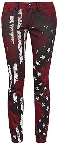 Rock Rebel by EMP Flag Pants (Slim Fit) Pantaloni donna bordeaux W32L34