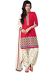 DivyaEmporio Women's Faux Crepe Red and White Salwar Suit Dress Material