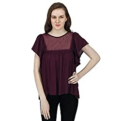 Women's Maroon Bohemian Top,Short Bell Sleeves, Trendy/Styish/Smart/Casual Top Wear for Women And Girls