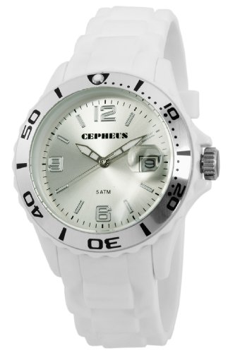 Cepheus Men's Quartz Watch with Silver Dial Analogue Display and Silver Silicone Strap CP603-586-1