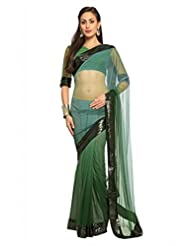 Designersareez Women Net Embroidered Deep Sea Green Saree With Unstitched Blouse(1499)
