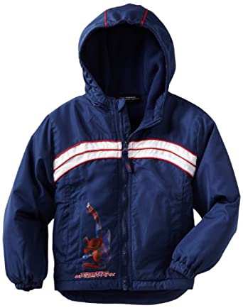 Marvel Boys 8-20 Spiderman Wall Crawler Light Weight Jacket, Blue, 8