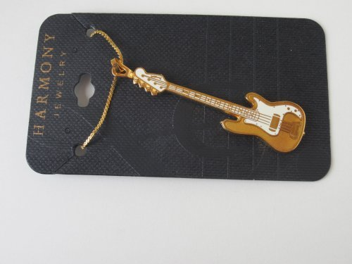 Harmony Jewelry Fender Bass Electric Guitar Necklace - Gold