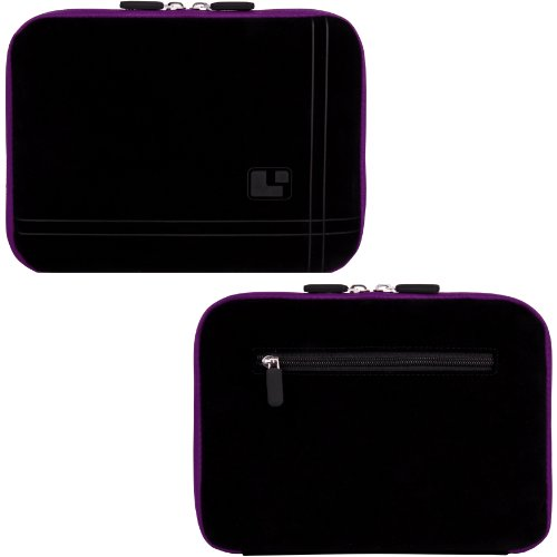 PURPLE Aero Protection Design Slim Soft Suede Cover Carrying Sleeve Case with Extra Accessory Back Pocket For Pandigital SuperNova 8 Inch Android Tablet eReader Tab Device at Electronic-Readers.com
