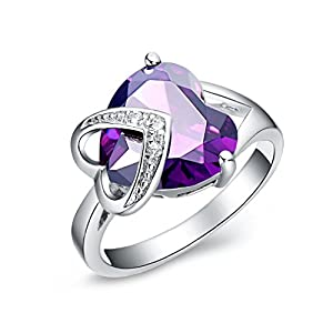 FLORAY Ladies Elegant Purple Created Sappire Themed Ring, Heart Shaped Gemstone, with Clear Transparent Cubic Zirconia, Gold Plated. Free Blue Jewellery Box, Beautiful Gift for Women or Girls.